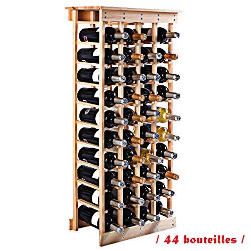 Blitzzauber24 Étagère à Vin Casier à Bouteille en Bois de Pin Robuste Modulable Rangement pour 44 Bouteilles 46.5 x 27.5 x 113 CM : tests et avis
