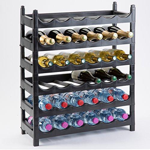 Découvrez Etagère à bouteille, casier à bouteille modulable plastique 36 bouteilles noir
