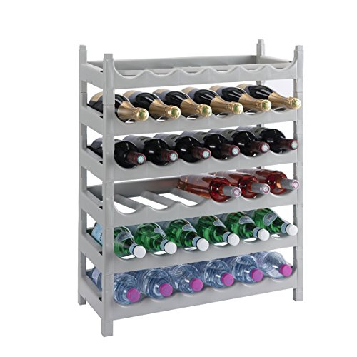 Mise en situation de Wedestock Etagère à Bouteille, casier à Bouteille modulable Plastique 36 Bouteilles Coloris Gris :