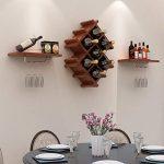 Découvrez Casier à vin suspendu/casier à vin en bois/minimaliste moderne cave à vin restaurant/mur de la salle de séjour porte-partition décoratif, brun 114 * 51cm