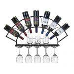 Le support à vin Iron Art contient un présentoir à vin de 7 bouteilles avec support à verres à suspendre de style européen pour une cuisine, une salle à manger, un bar ou une cave à vin,Black : tests et avis