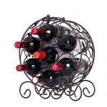LNDDP Élégant Métal Casier à vin - Prime Élégant Grand Bronze Dessus de la Table Cave à vin Présentoir - Titulaire jusqu'à 7 Bouteilles de vin