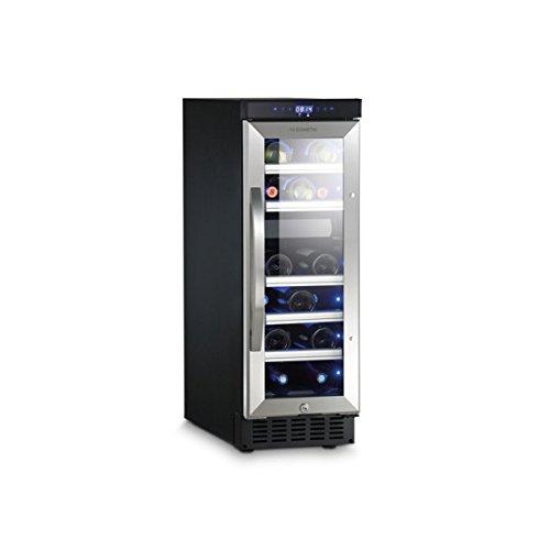 Notre top  DOMETIC MaCave D15, Cave à vin à compression, 17 bouteilles, 2 zones de température pour vins rouge et vins blanc, Eclairage à LED bleu, p615xh865xl295mm, [Classe énergétique B]