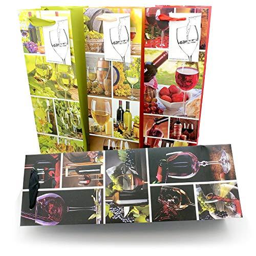 Evergreen Goods Ltd Lot de 8 sachets cadeau pour bouteille de vin avec étiquette cadeau et poignées Motif saisons pour anniversaire, anniversaire, occasions spéciales, H : 39 cm x l : 12 cm x P : 9 cm : ce qu'il faut découvrir.